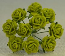 1 cm LIME GREEN Mulberry Paper Roses